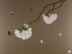 Blosson, Butterflies & Bee by Dylan Izaak - Original Painting on Aluminium sized 32x24 inches. Available from Whitewall Galleries